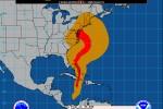 De baan van orkaan Sandy (NHC)